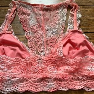 Intimates & Sleepwear - Pink and White Lace Racerback Bralette